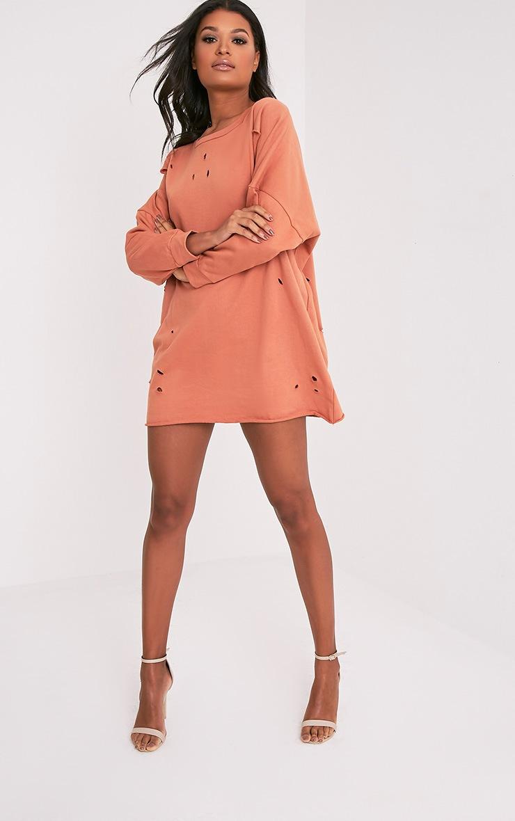 Emilia Deep Peach Distressed Raw Edge Sweater Dress 5