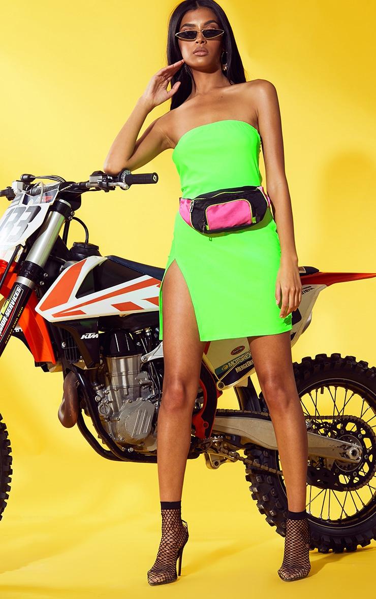 Neon Green Extreme Split Bodycon Dress 4