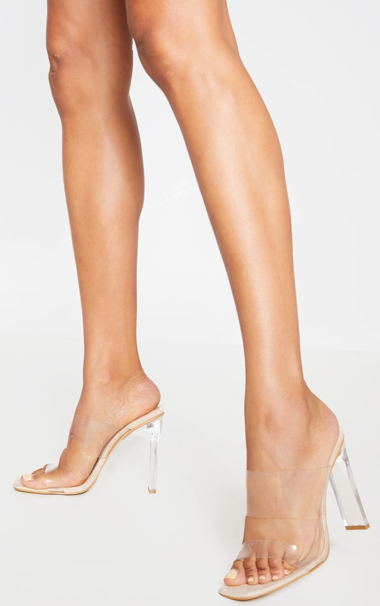 Nude Clear Heel Twin Strap Clear Mule 1