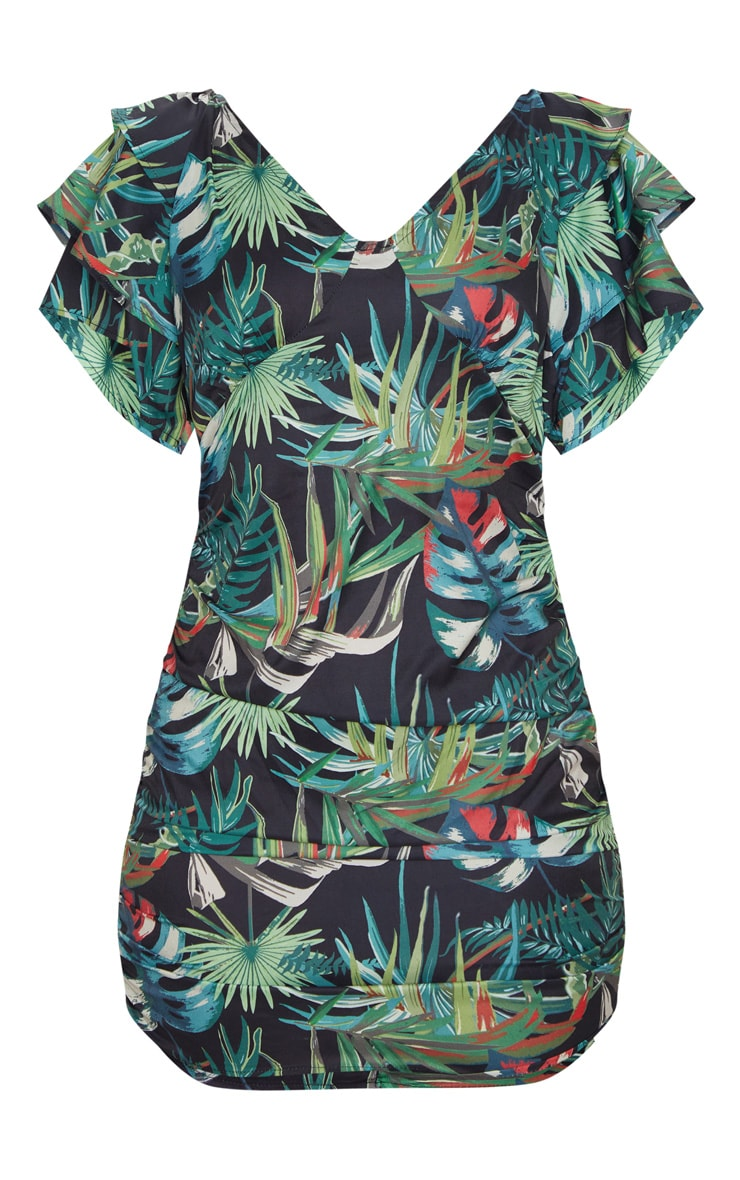 Tropical Print Off The Shoulder Ruffle Bodycon Dress 5