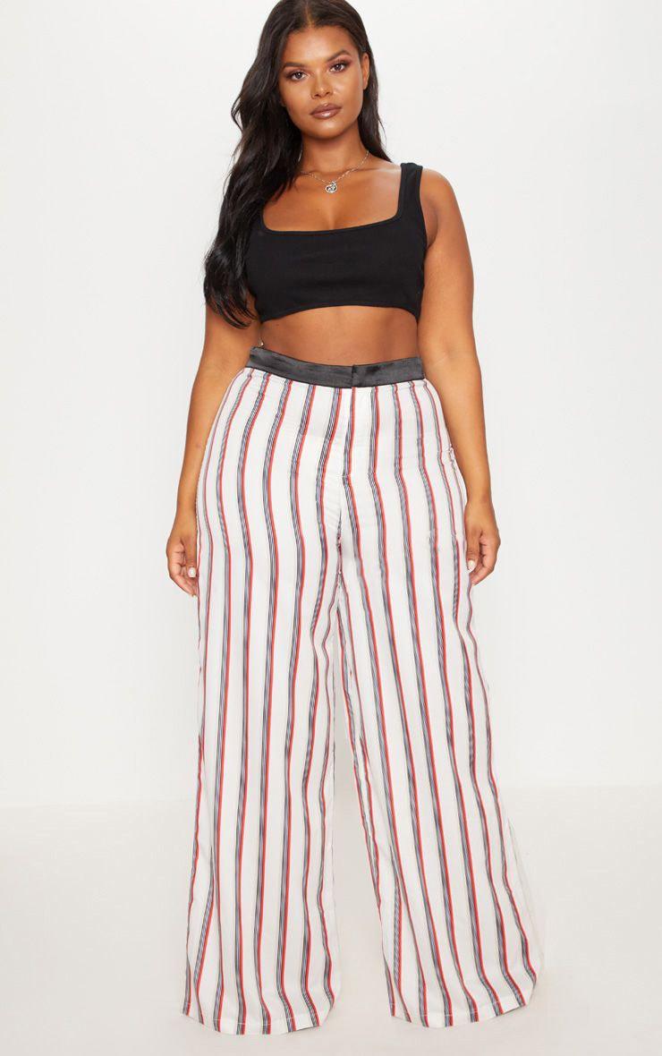 Plus Multi Stripe Wide Leg Pants 1