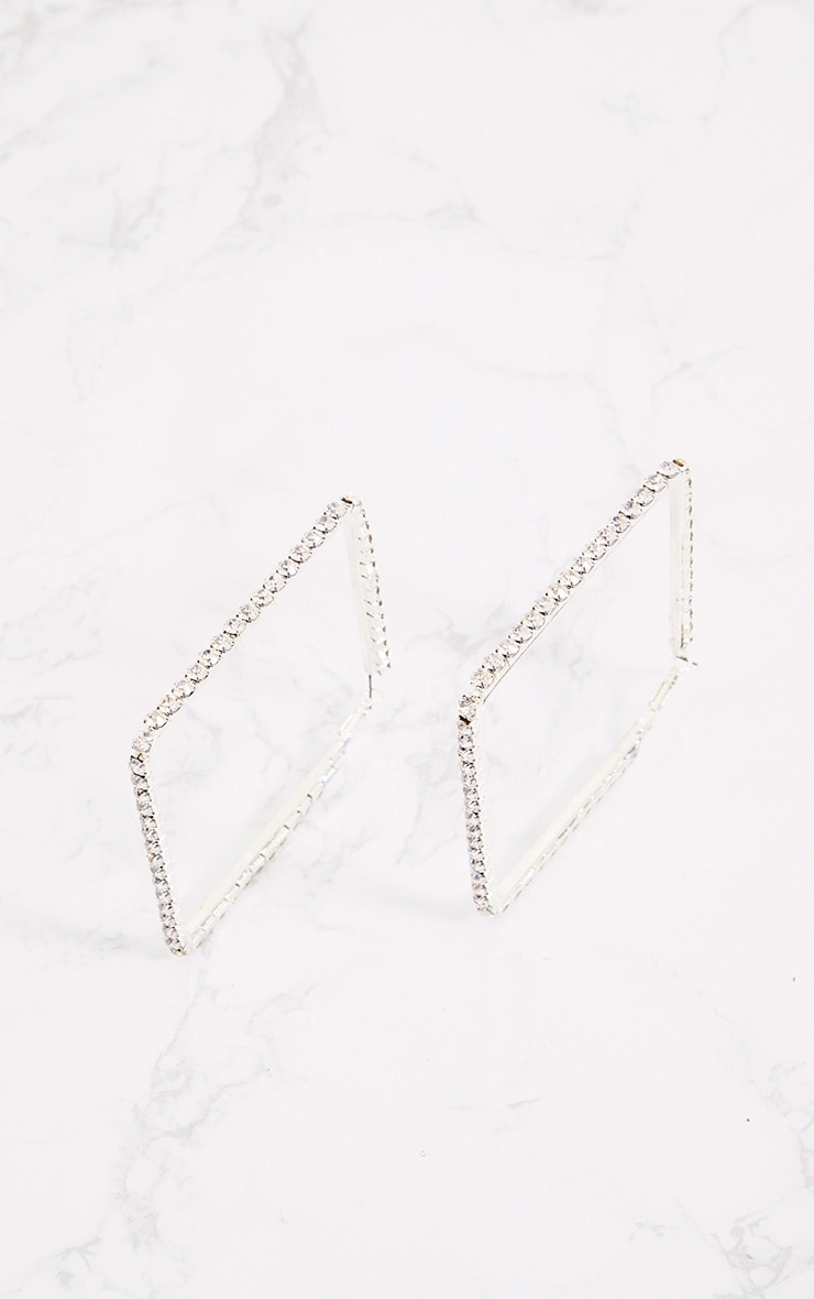 Silver Oversized Diamante Square Earrings 4