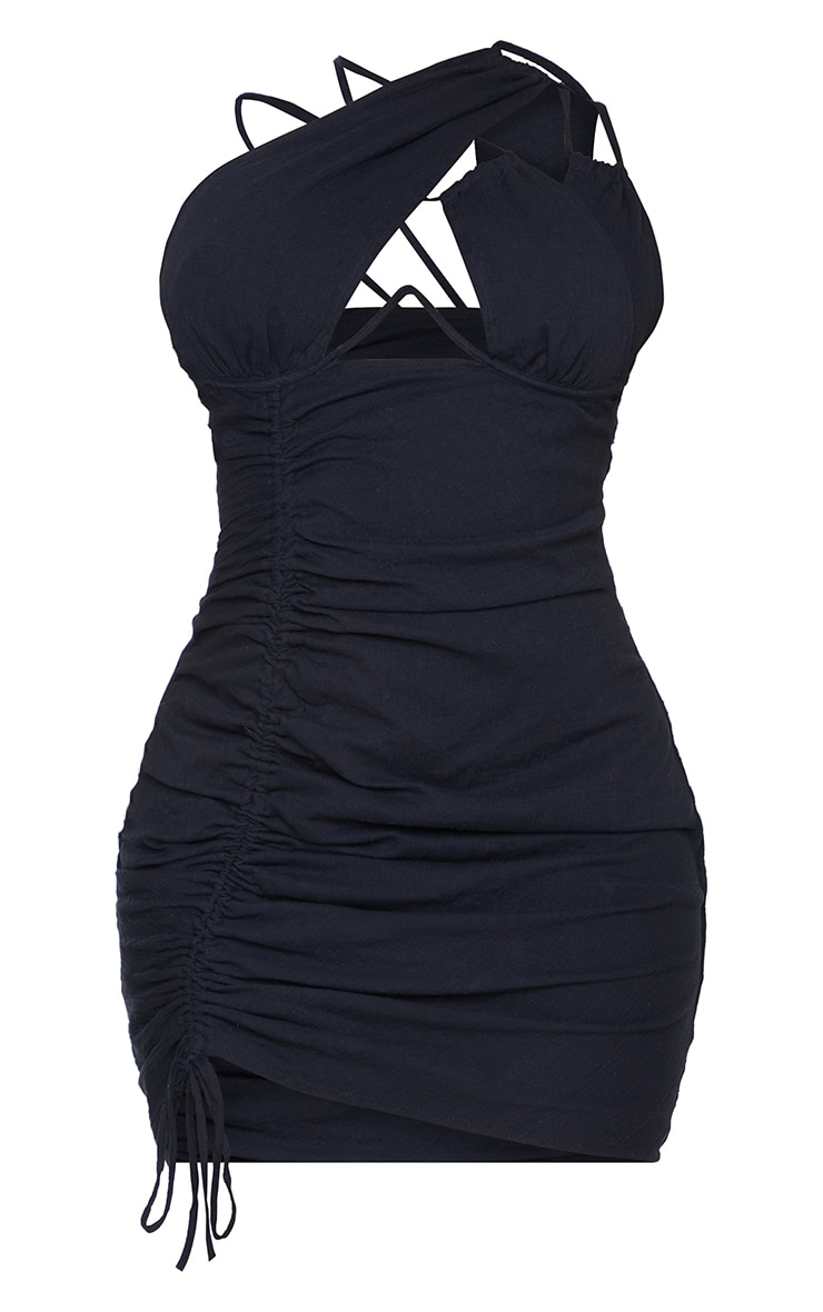 Shape Black Woven Cup Detail Ruched Side Bodycon Dress 5