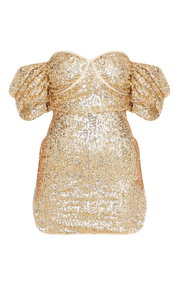 Gold Sequin Puff Sleeve Bardot Bodycon Dress 3