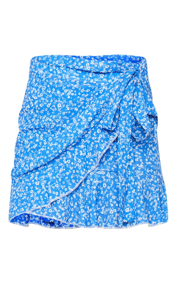 Blue Frill Edge Tie Front Mini Skirt 6