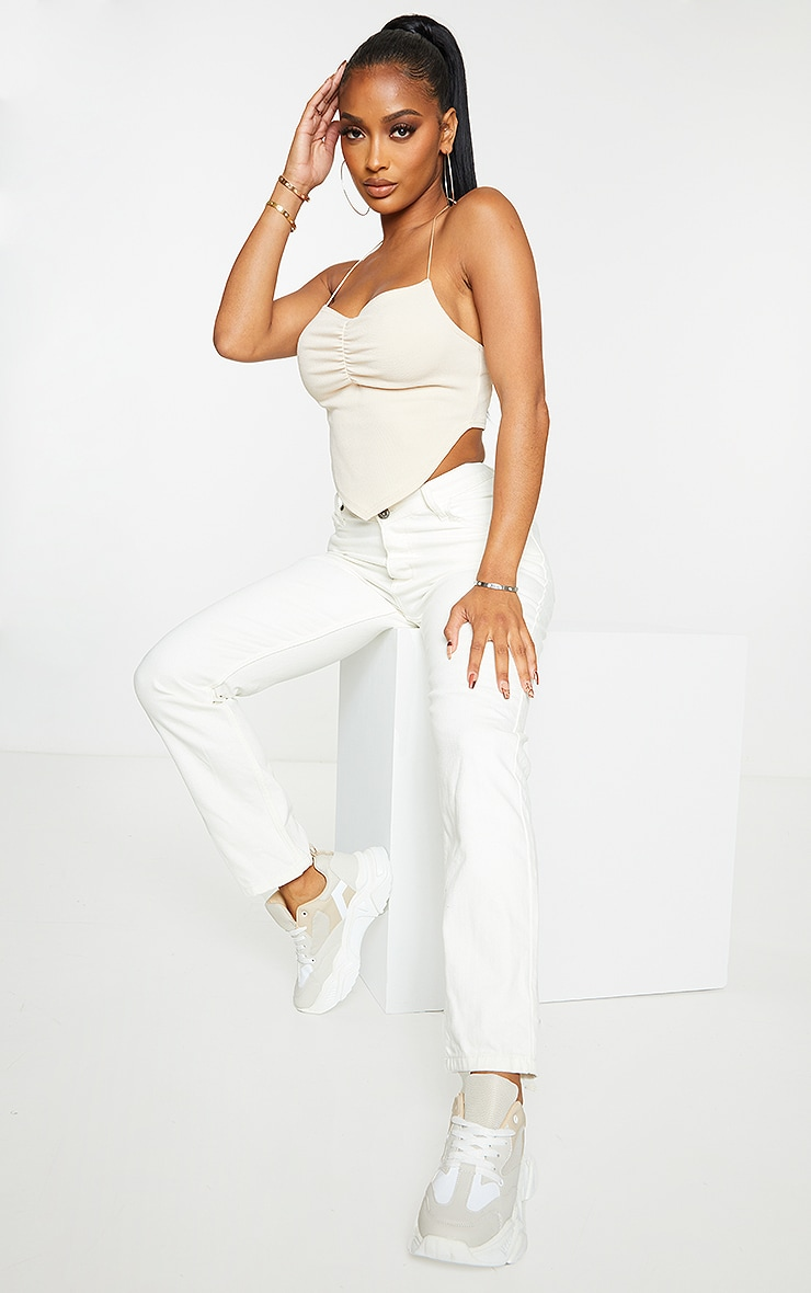 PRETTYLITTLETHING Shape Ecru V Front Waistband Straight Leg Jeans 1