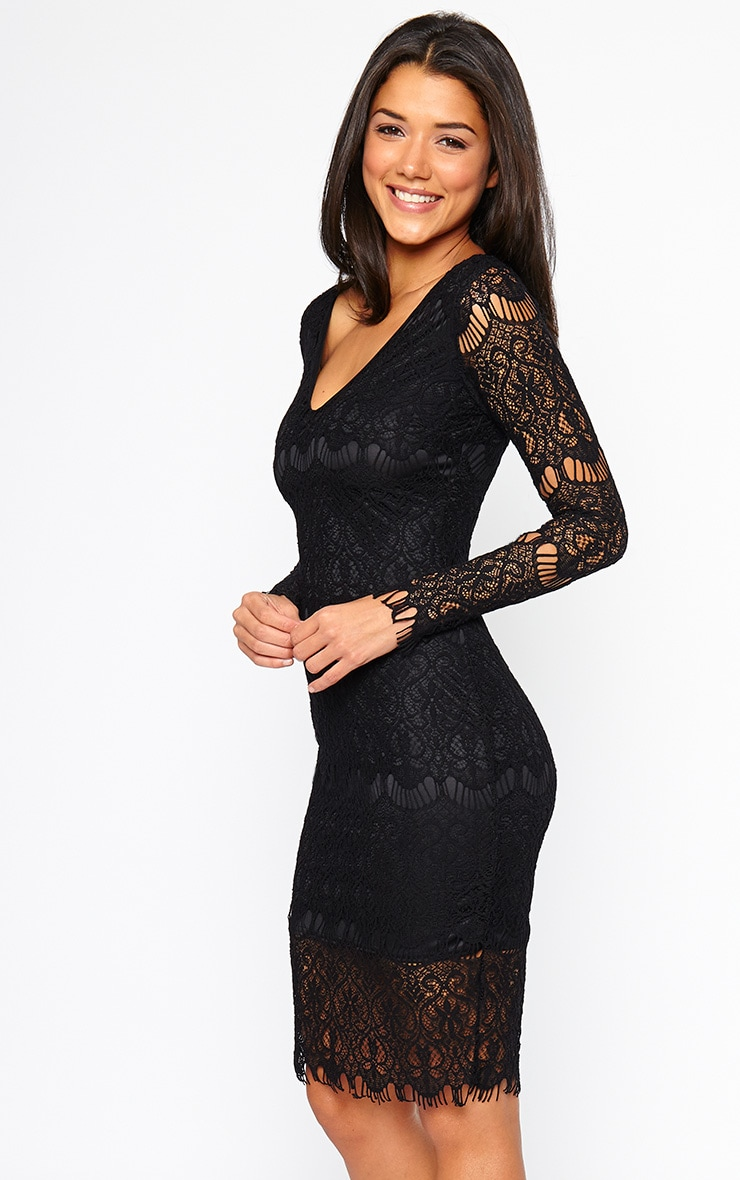 Lenix Black Lace Midi Dress 1