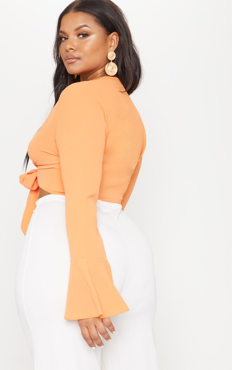 Plus Orange Tie Front Frill Sleeve Blouse 2