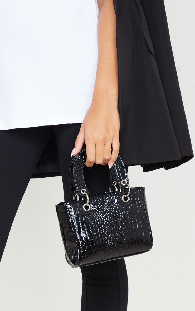 Black Patent Croc Ring Detail Mini Handbag 1