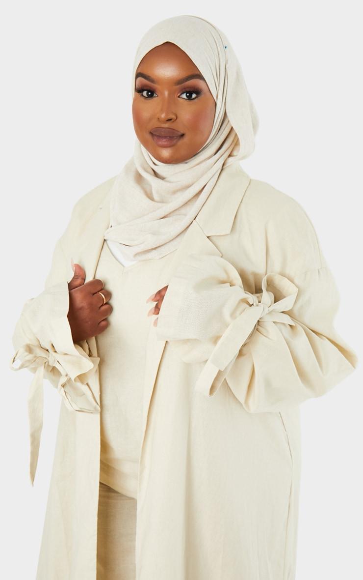Plus Cream Woven Tie Cuff Duster Coat 4
