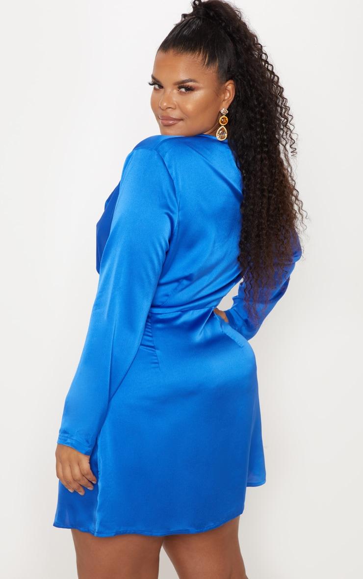 Plus Cobalt Blue Satin Long Sleeve Wrap Dress 2