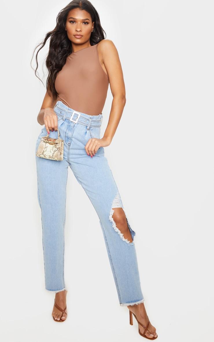 Vintage Wash Distressed Knee Ripped Jeans 1