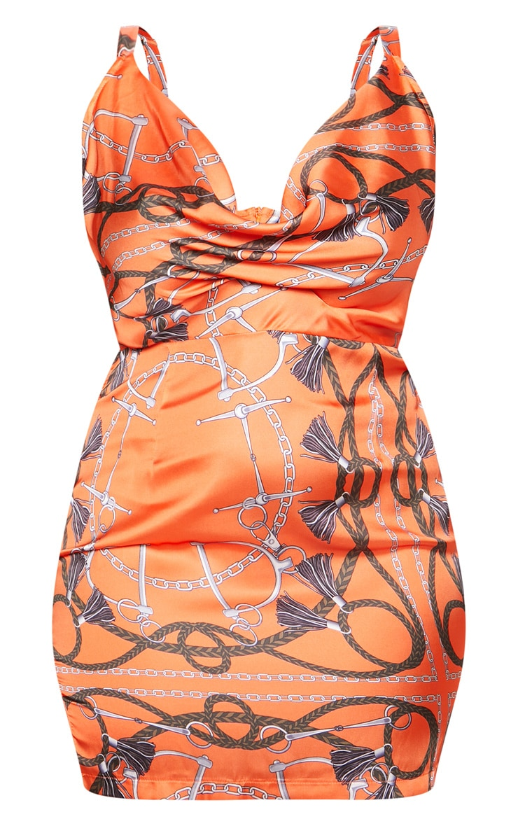 Orange Chain Print Satin Cowl Neck Bodycon Dress 4