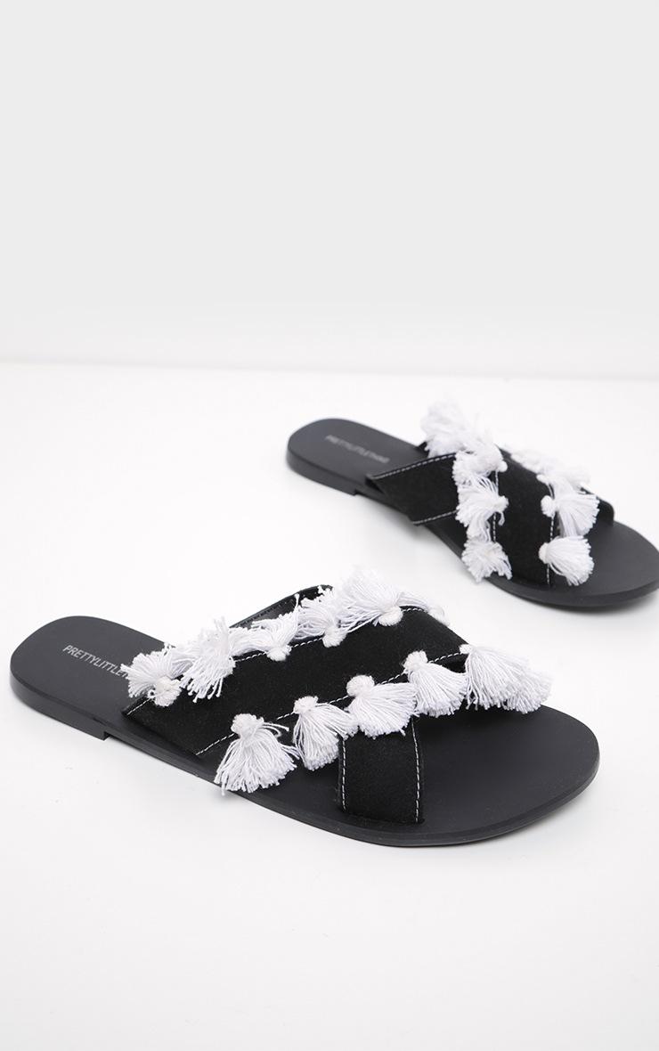 Black Cross Strap Tassel Mule Sandal 4