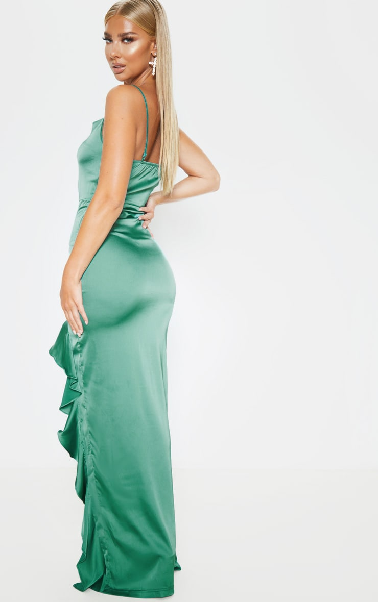 Emerald Green Cowl Neck Frill Hem Maxi Dress 2
