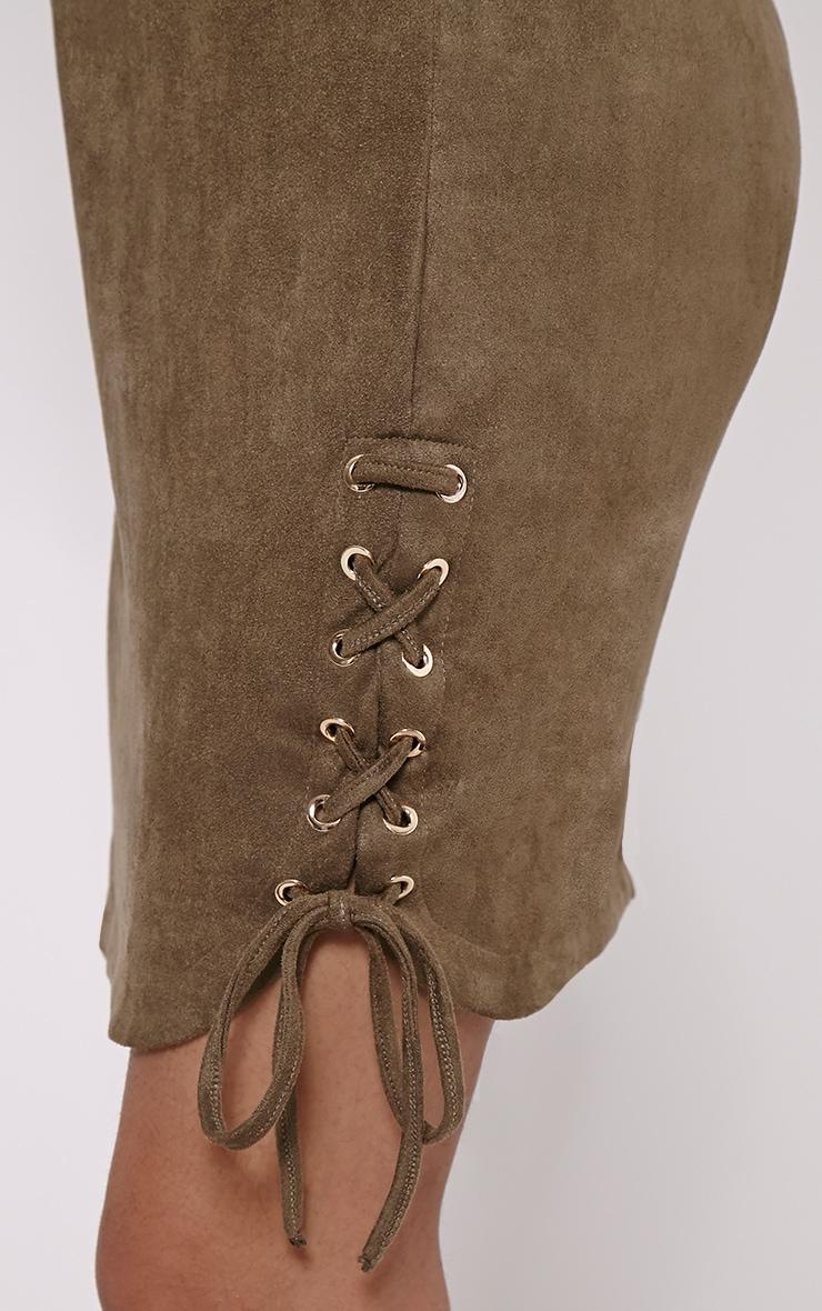 Brooke Khaki Lace Up Detail Suede Dress 5