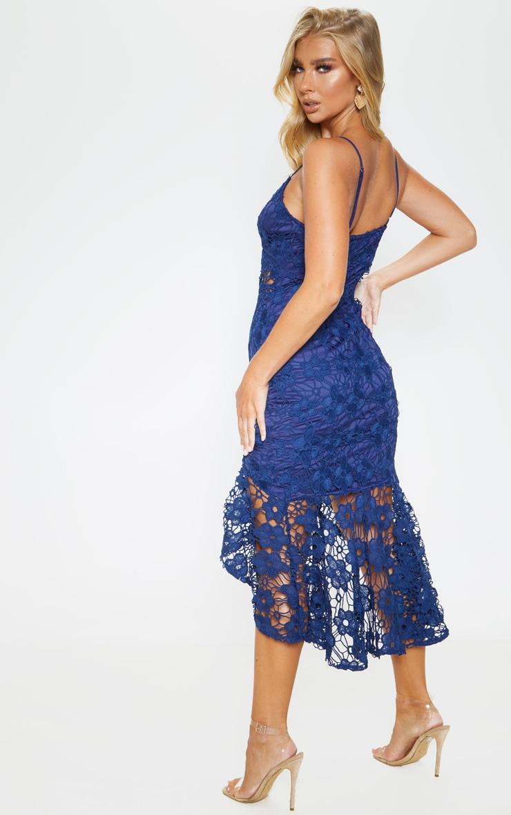 Midnight Blue Lace Strappy Frill Hem Midi Dress 2
