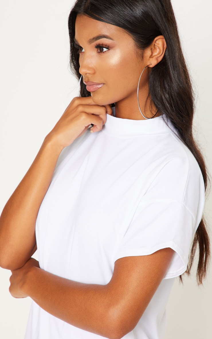White High Neck Oversized T Shirt Dress 5