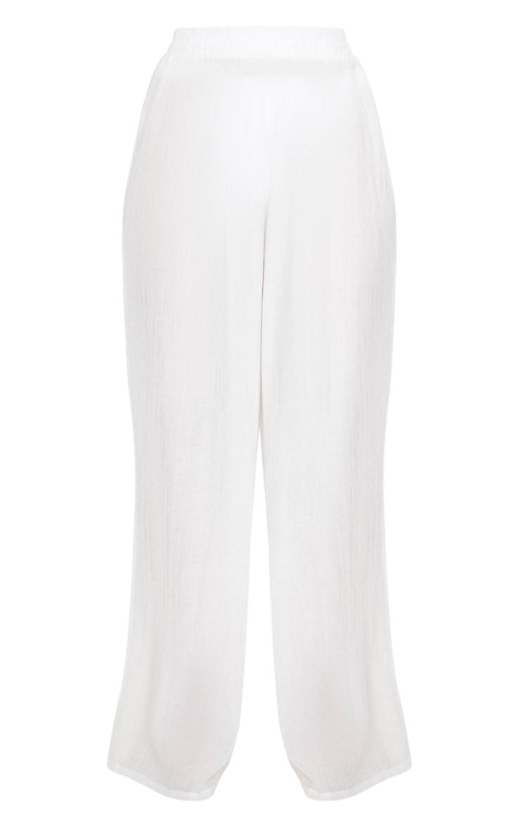 Pantalon de plage léger écru à jambes évasées  3