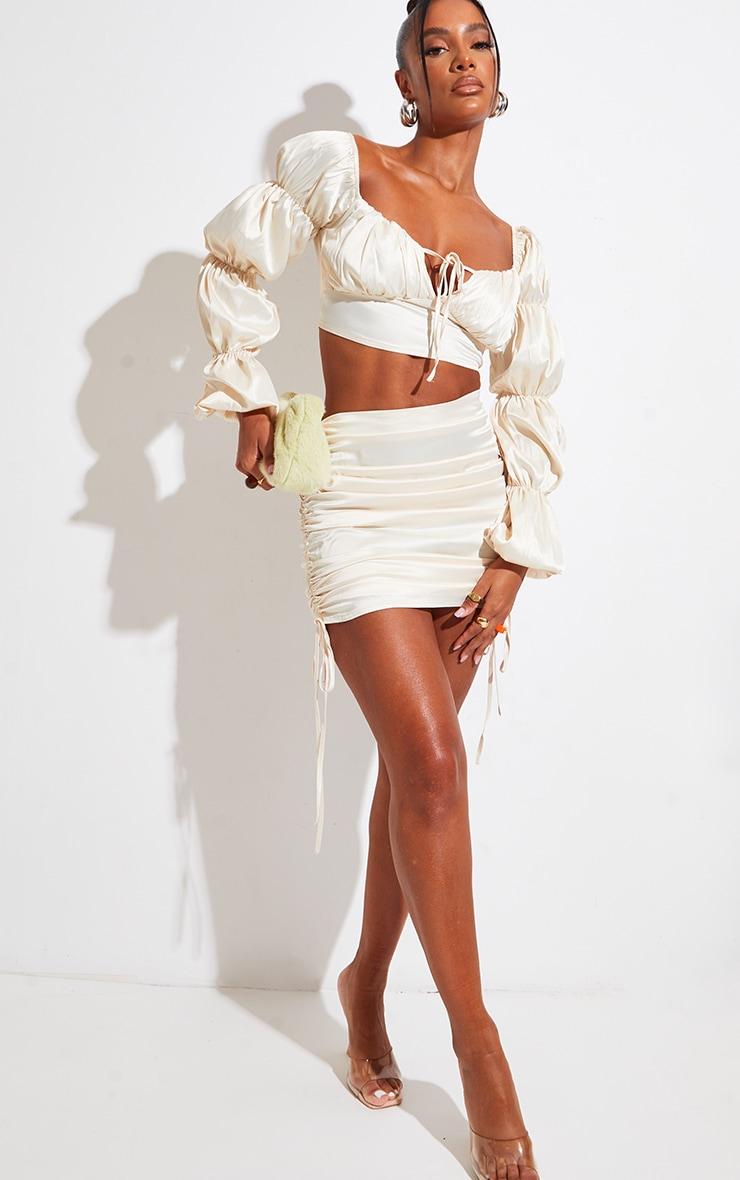 Cream Satin Ruched Side Mini Skirt 1