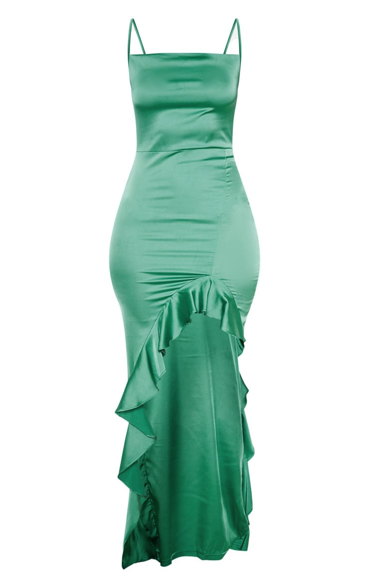 Emerald Green Cowl Neck Frill Hem Maxi Dress 3