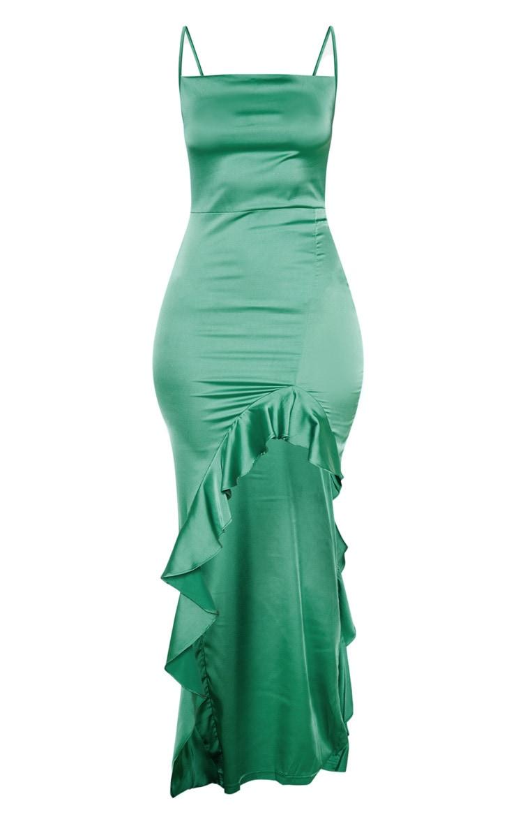 Robe longue vert émeraude à col bénitier et ourlet volanté 3