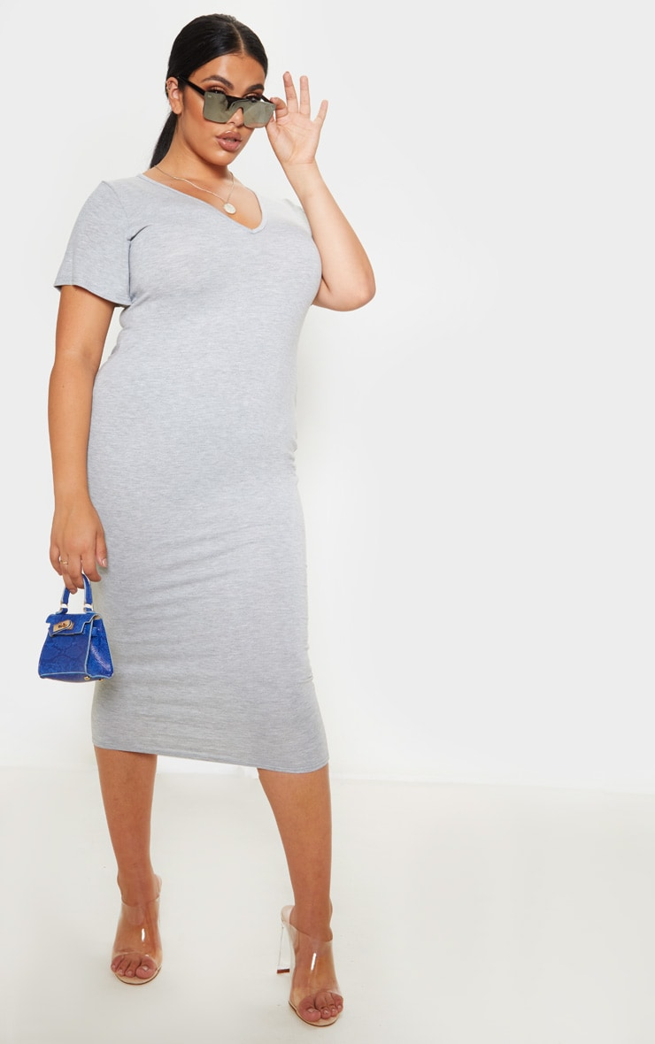 Plus Grey Marl Jersey V Neck T- Shirt Midi Dress 4