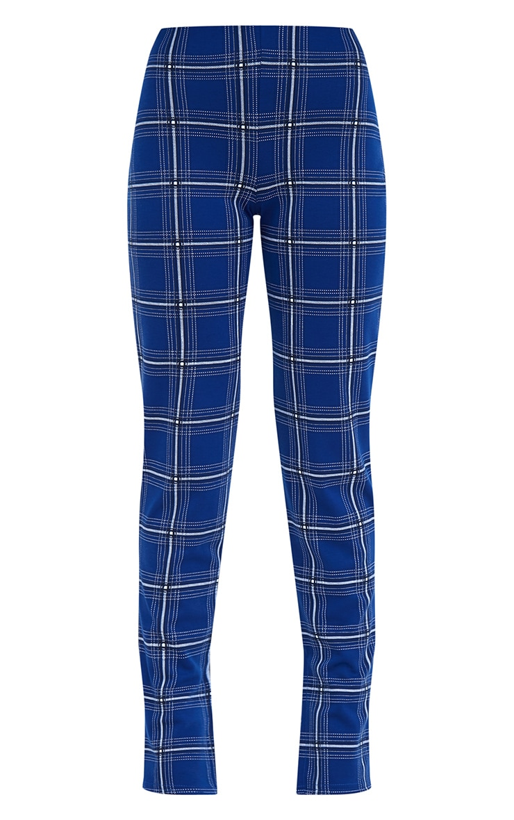 Petite Blue Checked Split Hem Trousers 3