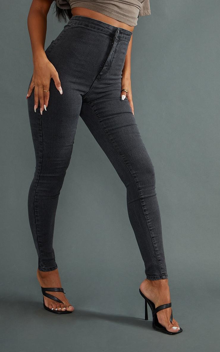 PRETTYLITTLETHING Washed Black Disco Skinny Jean 2
