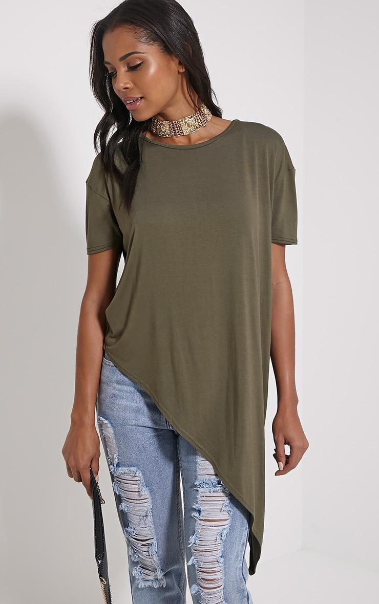 Amore Khaki Asymmetric Hem T-Shirt 1