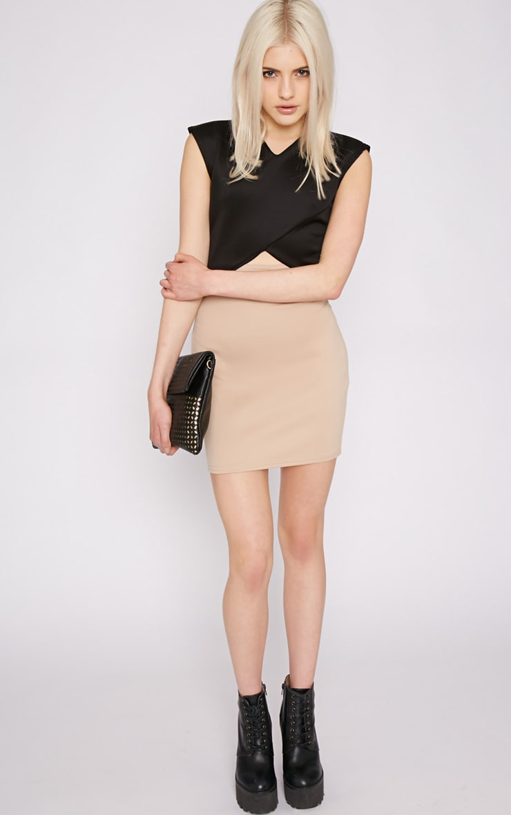 Itzel Beige Cut Out Mini Dress 4