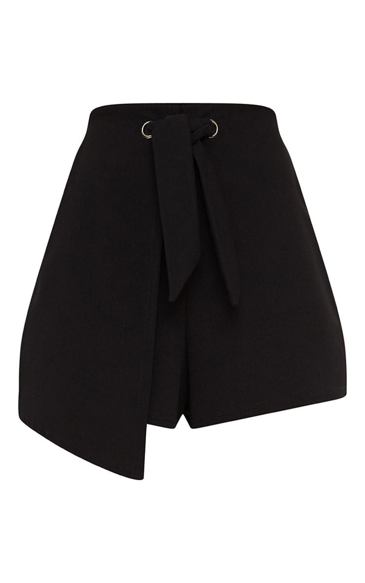 Black Tie Front Wrap Short 3