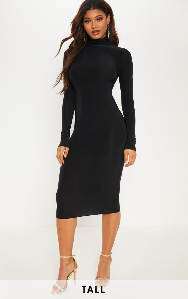Tall Black High Neck Slinky Midi Dress 1