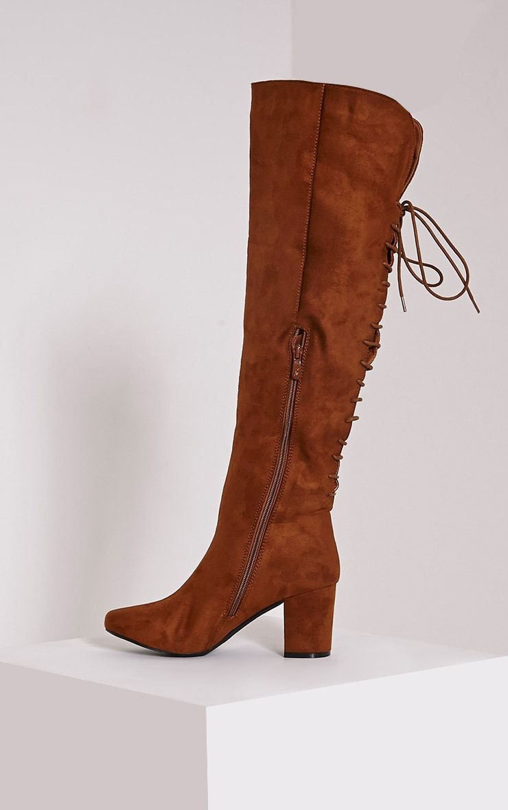 Sharan Tan Faux Suede Laced Up Boots 4