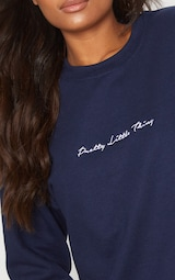 PRETTYLITTLETHING Navy Embroidered Sweatshirt 5