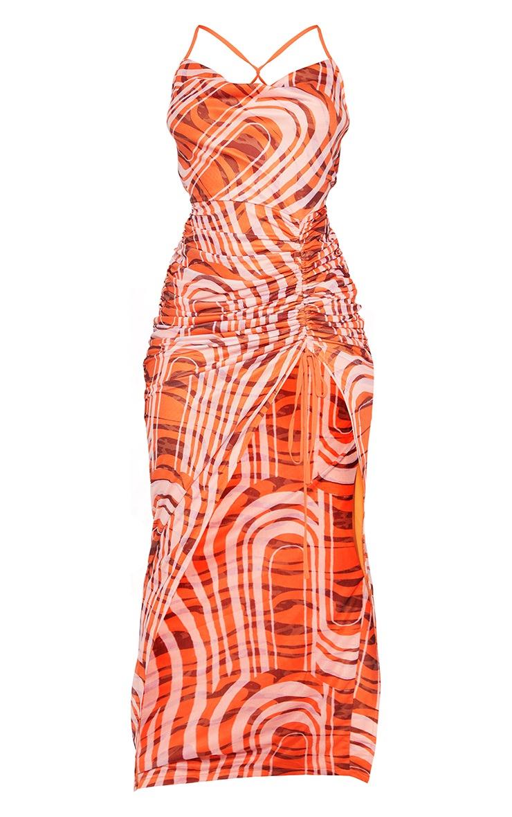 Orange Swirl Print Cowl Neck Strappy Back Ruched Maxi Dress 5