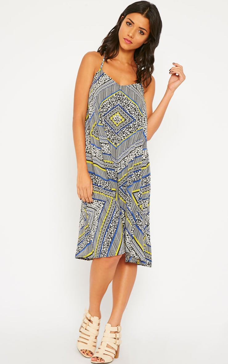 Telina Printed Plaited Strap Swing Dress 1