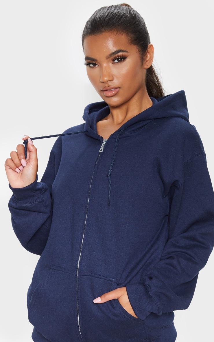 Hoodie bleu marine à zip et doublure polaire 4