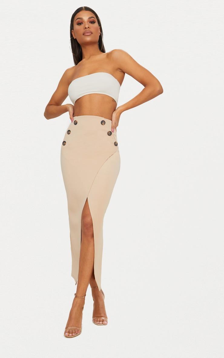 Stone Button Wrap Midaxi Skirt 1