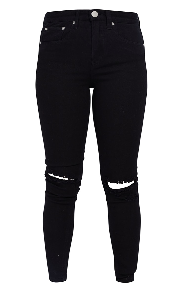 Petite Black Knee Rip Slim Jean 5