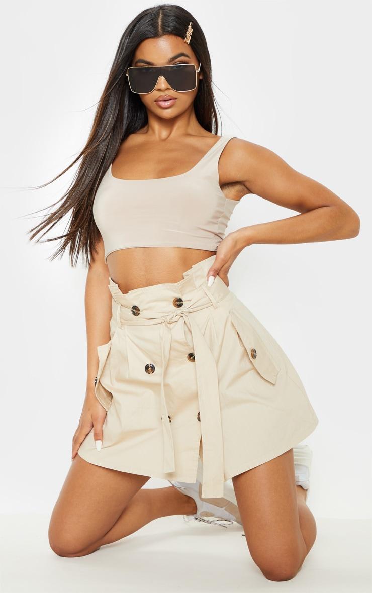 Stone Trench Tie Waist A line Mini Skirt 1