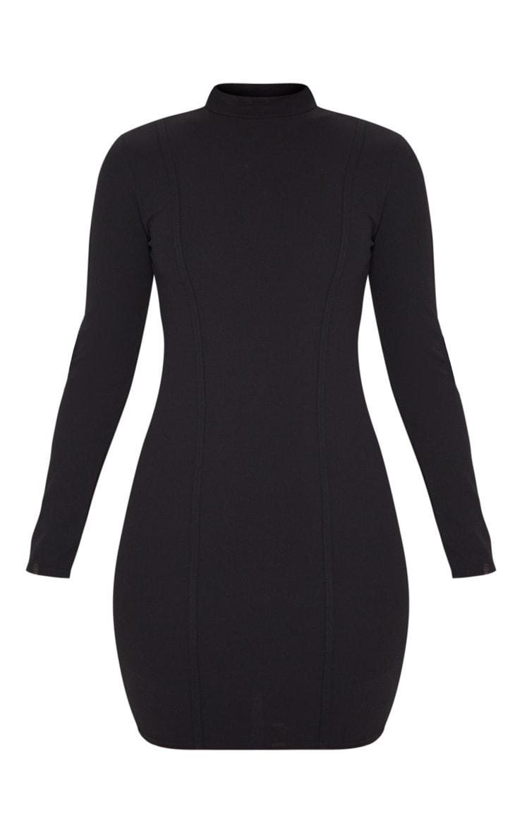 Black High Neck Long Sleeve Binding Detail Bodycon Dress 6