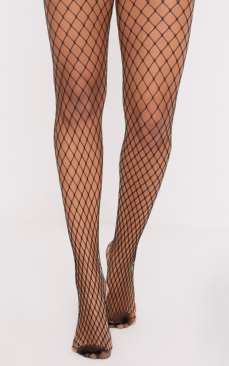 Kelsie Black Medium Net Fishnet Tights 1