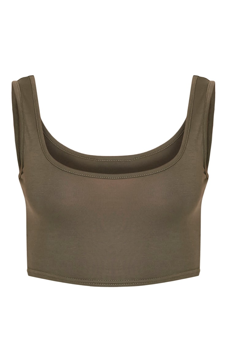 Basic Khaki Scoop Back Crop Top 3
