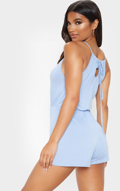 Baby Blue Plunge Tie Back Strappy Playsuit