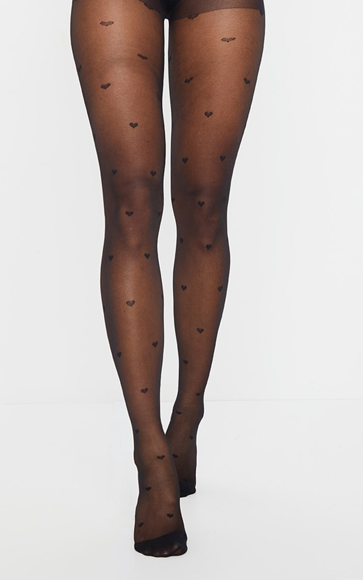 Black All Over Heart Tights 1