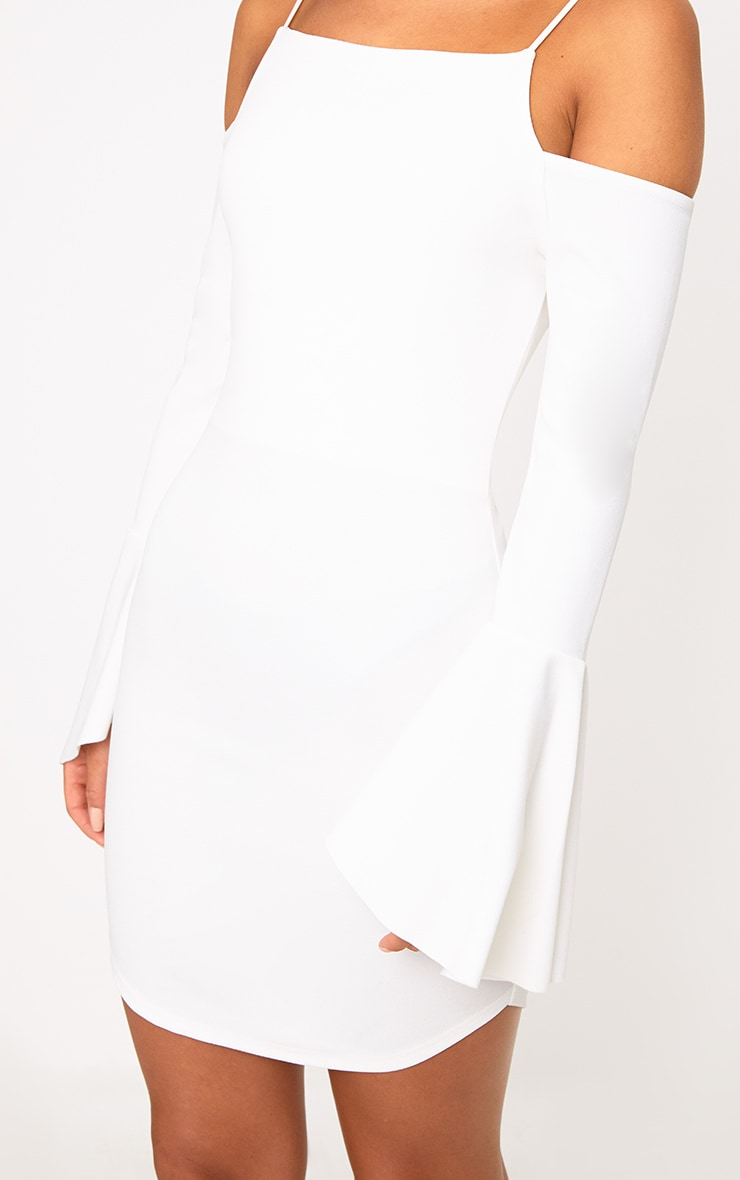 White Cold Shoulder Flared Sleeve Bodycon Dress 5