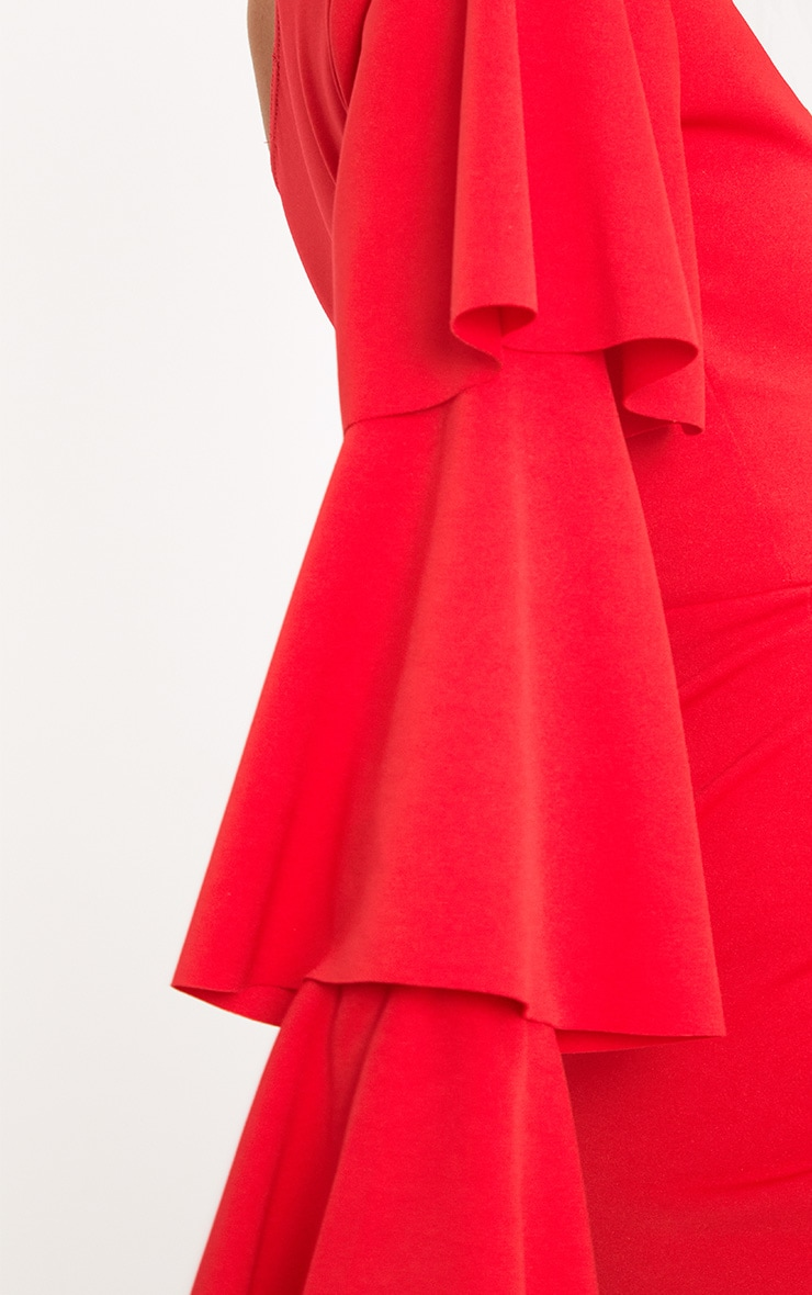 Red One Arm Frill Playsuit  5
