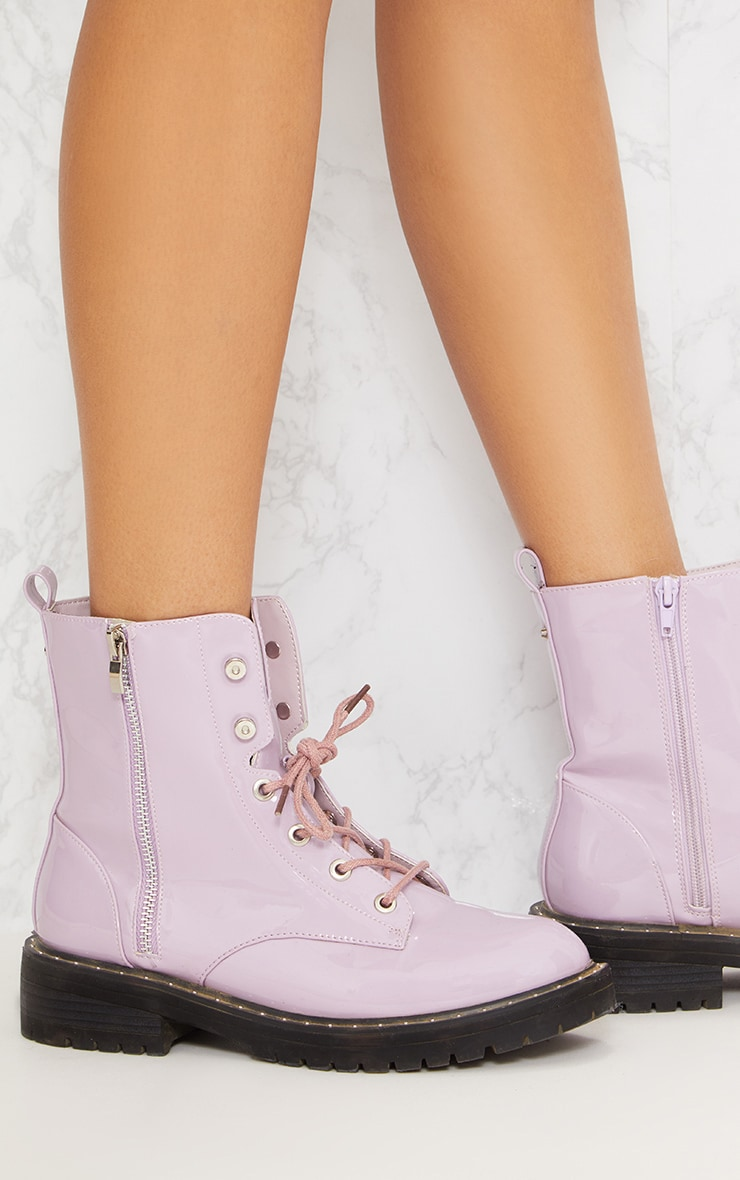 Lilac Chunky Lace Up Boot 6