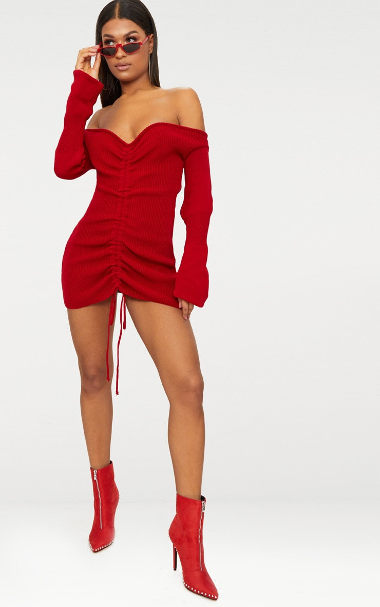 Red Ruched Knit Dress 4